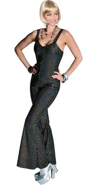 Vestito donna moda disco anni 70, tuta intera elasticizzata evento party, del costume Fever la febbre del ballo. Svasata in fondo a zampa, in velluto nero pailettes diamanti con riflessi iride che rivestono le forme attraenti del corpo, zip invisibile dietro. Polyestere 100%
