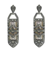 Mother of Pearl Marcasite Earrings - Chicago Marcasite Jewellery