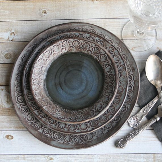 Modern Rustic Dinnerware Place Setting Handmade Ceramic Stoneware Black Gray Three Piece Rustic Dinner Plate Set Made in USA Ready to ship : black dinner plates set - pezcame.com