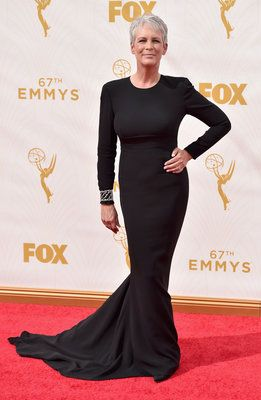 Jamie Lee Curtis-- Meowza! Love the cuff over the long sleeve of the dress. 2015 Emmys
