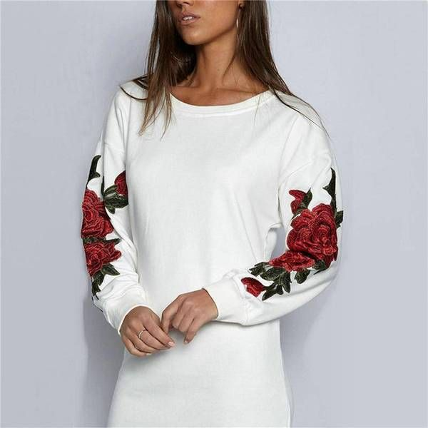Plus Size Rose floral Embroidery Long Sleeve Pullovers