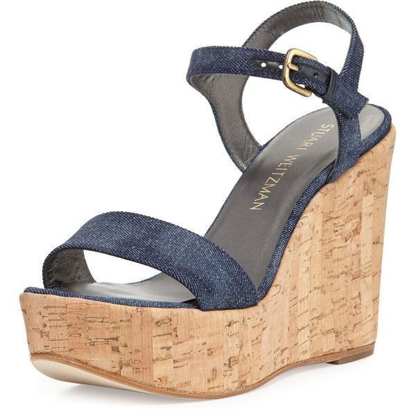 Stuart Weitzman Single Denim Wedge Sandal ($398) ❤ liked on Polyvore featuring shoes, sandals, navy, navy wedge sandals, navy platform sandals, denim sandals, wedge sandals and platform wedge sandals #stuartweitzmanwedge
