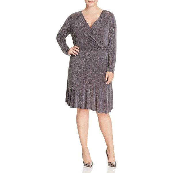 Michael Michael Kors Plus Metallic Faux Wrap Flounce Dress ($145) ❤ liked on Polyvore featuring plus size women's fashion, plus size clothing, plus size dresses, derby, plus size, plus size metallic dress, plus size faux wrap dress, purple dress, purple ruffle dress and womens plus dresses