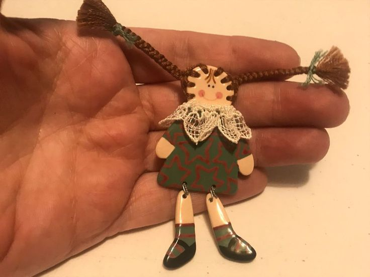 Vintage Hand Crafted CERAMIC DOLL Yarn Hair BROOCH PIN Silver Tone  #Brooch