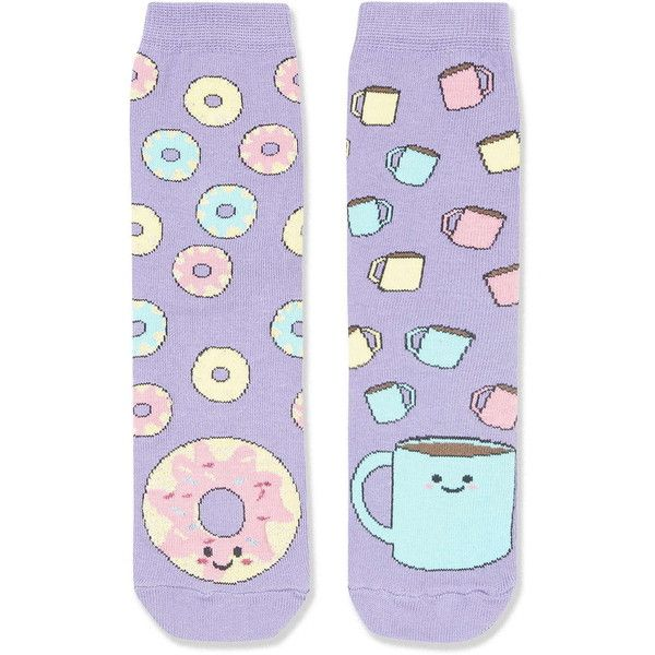 TOPSHOP Coffee and Donuts Ankle Socks ($6) ❤ liked on Polyvore featuring intimates, hosiery, socks, purple, print socks, topshop, ankle socks, patterned socks and patterned hosiery