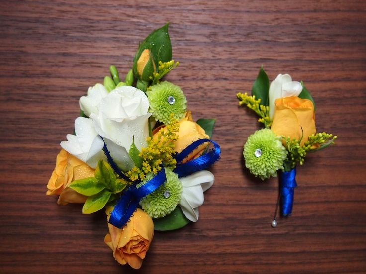 60 best sweet 16 images on pinterest blue corsage flower prom corsage and matching boutonniere for a royal blue dress using white and yellow roses mightylinksfo