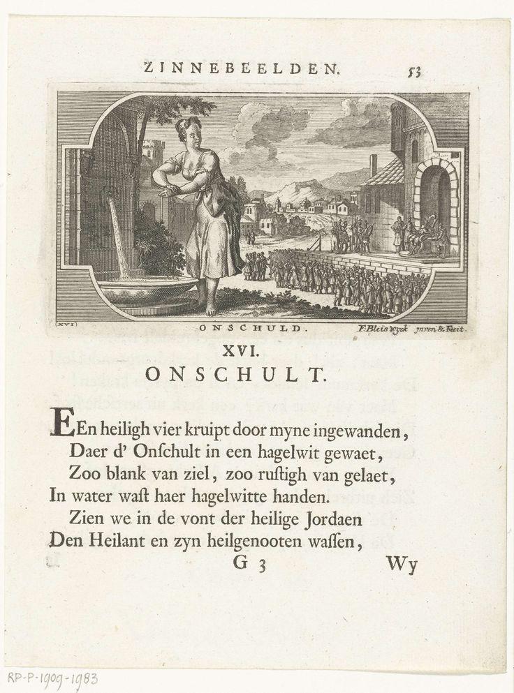 François van Bleyswijck | Embleem met allegorie op onschuld, François van Bleyswijck, 1681 - 1737 | Embleem met allegorie op onschuld verbeeld als vrouw die haar handen wast bij een fontein. In het landschap is de bijbelse scène weergegeven waarin Pilatus zijn handen in onschuld wast. Onder de voorstelling en op het verso staat een gedicht.