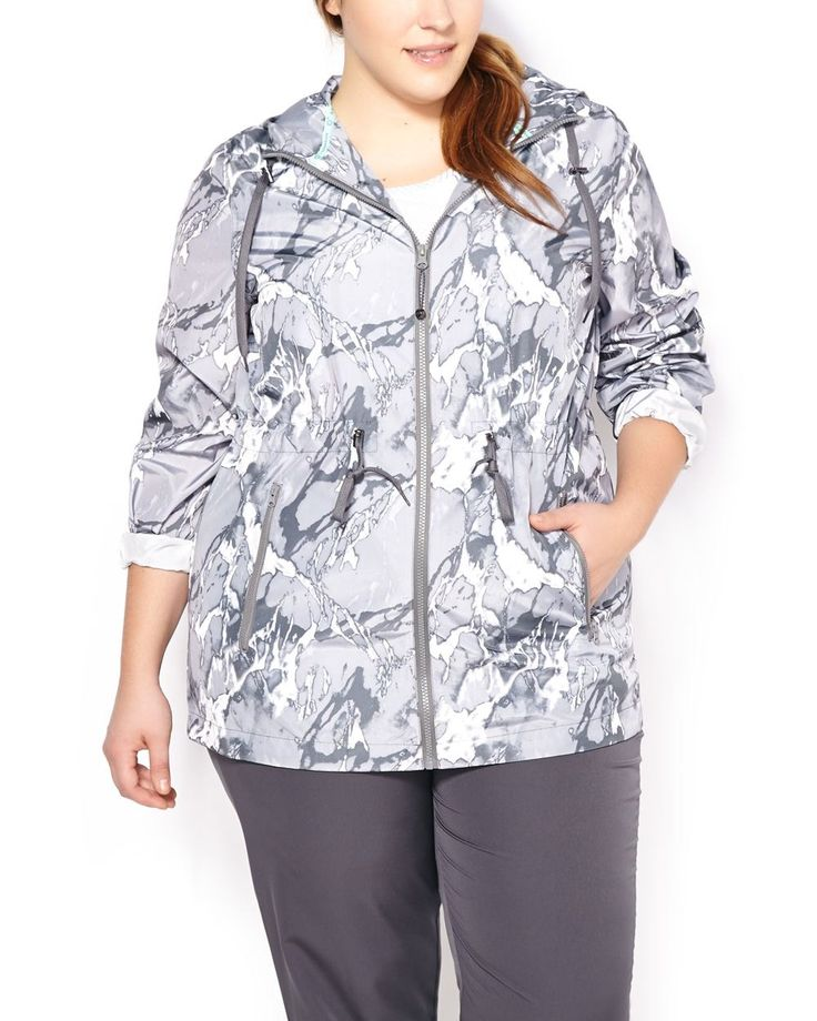 Perfect for spring, this light and stylish plus-size activewear jacket is perfect to cover up when you're on the move. Made with a lightweight and water-repellent fabric, this windbreaker features a practical hood, zipper closure, zipped front pockets and a drawstring at waist and at bottom high-low hem. Ready to sport anywhere!