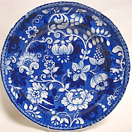 BLUE TRANSFERWARE FLORAL PATTERN PLATE 1825 (BLUE AND WHITE ...