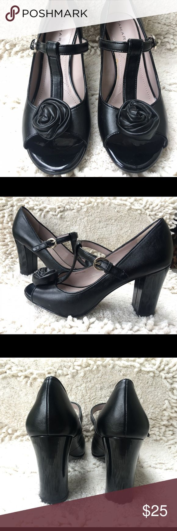 Tahari May shoes in 6M Black Mary Jane shoes (May) with rose detail at toe. 3 inch block patent leather heels. In excellent condition. Tahari Shoes Heels