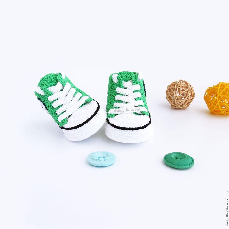 Купить пинетки вязаные кеды пинетки детские вязаные конверсы зеленые - пинетки кеды