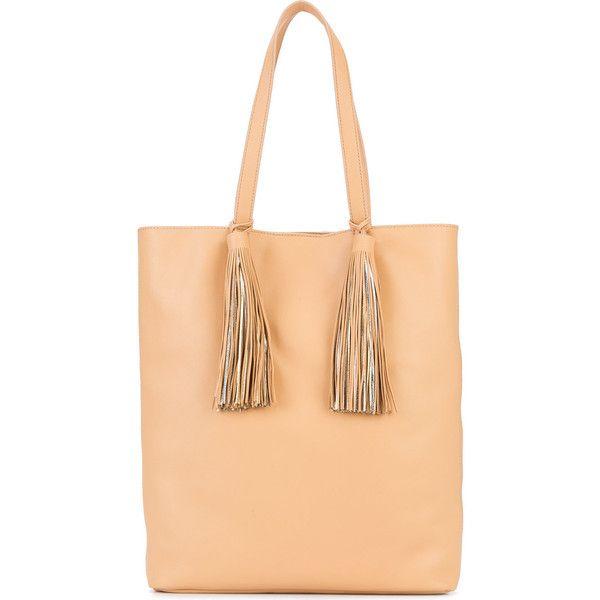 Loeffler Randall tassel tote ($550) ❤ liked on Polyvore featuring bags, handbags, tote bags, nude, tassel purse, beige tote, beige handbags, loeffler randall tote and handbags tote bags