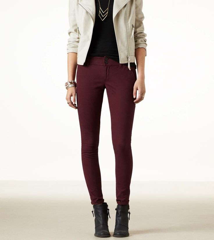 AE SKINNY TROUSER STYLE: 1328-2195 | COLOR: 126 (Burgundy) Size: 6 X-Long