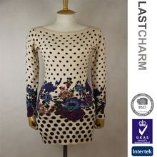 Long Sleeve Flowers And Dot Printed Fashion Woman Sweater  Best Buy follow this link http://shopingayo.space