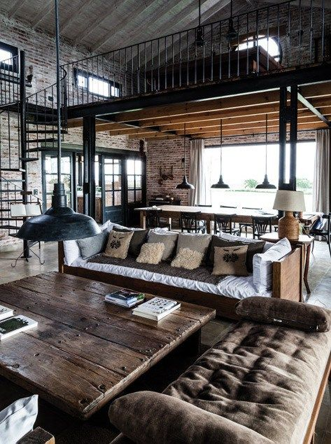 Layout of space:  private space in loft over top with open living space.