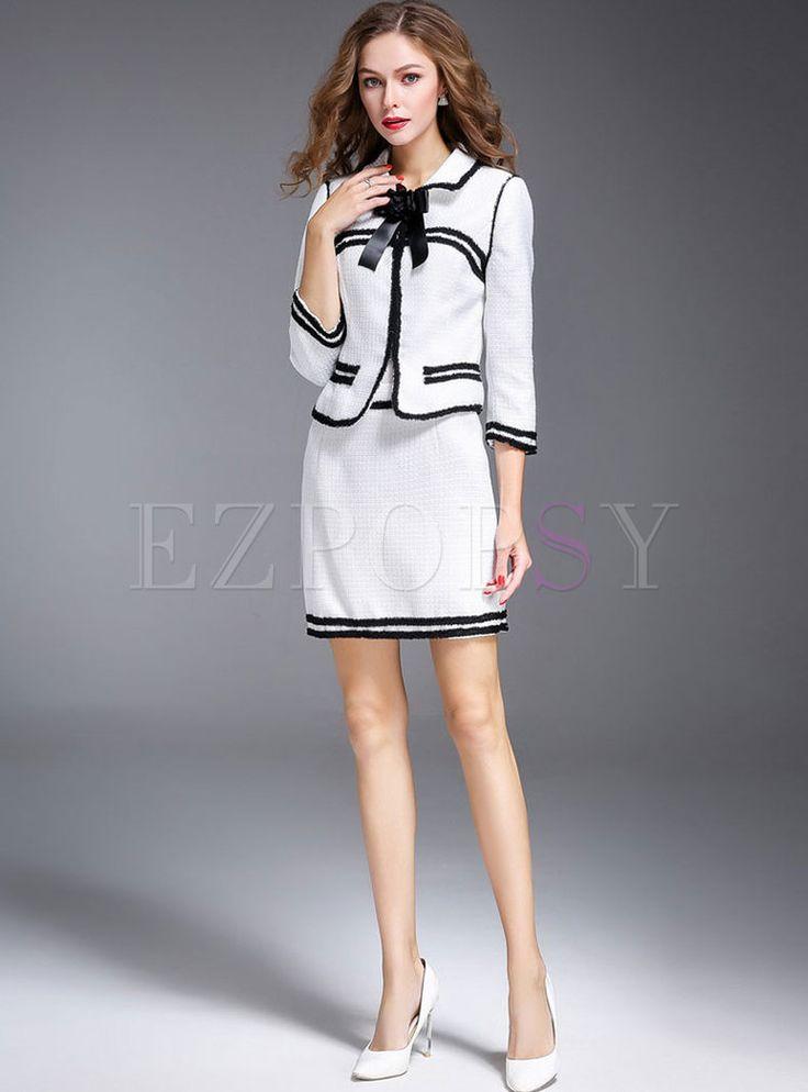 Shop for high quality Sweet Bowknot Striped Two-piece Outfits online at cheap prices and discover fashion at Ezpopsy.com
