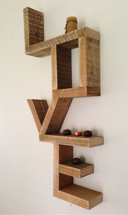 What word sends a powerful message to you? This one? | Love - wall shelf made from recycled timber offcuts: via State of Green |