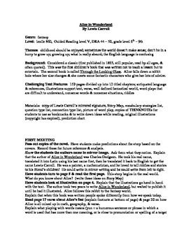 best alice in wonderland summary ideas holes  alice in wonderland guided reading plan