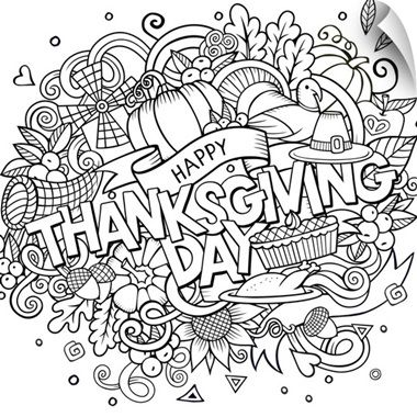 "Black and white thanksgiving poster art - ""Happy Thanksgiving Day"" by Olga Kostenko from Great BIG Canvas."