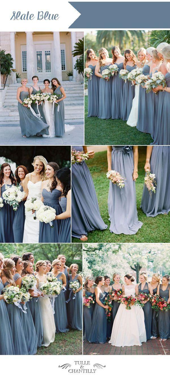 Slate blue bridesmaid dresses ideas for summer weddings.