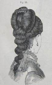 1879 Godey's Lady's Book  Comb the front hair simply back, the ends, which must be waved, falling on to the shoulder.  Above this fall of hair  the back hair is combed upward and  arranged in a butterfly bow, fastened with an ornamental comb. The Barrington House Educational Center, L.L.C.
