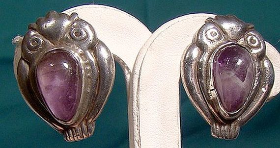 Mexican Sterling Silver Amethyst Owl Earrings 1930s Cabochon