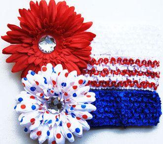 5pc 4th of July Patriotic Baby Girls Crochet Headband Gift Set Hair Flowers Baby Headbands Girls Headband Red White Blue 4th July Babies by BabyGirlTutus on Etsy