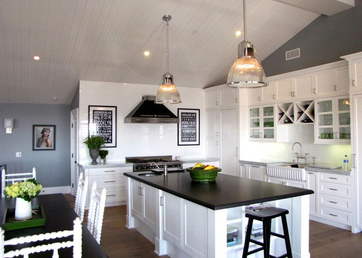 New White Cabinets Black Countertops Gray Walls