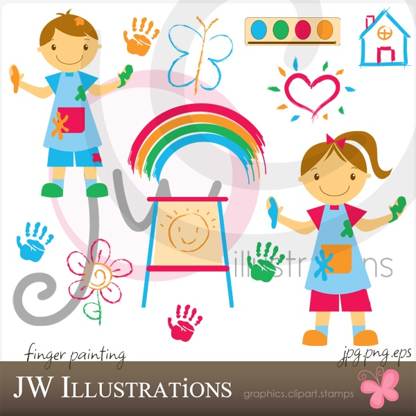 cute clipart: Fingers Paintings, Finger Painting, Illustrations Cliparts
