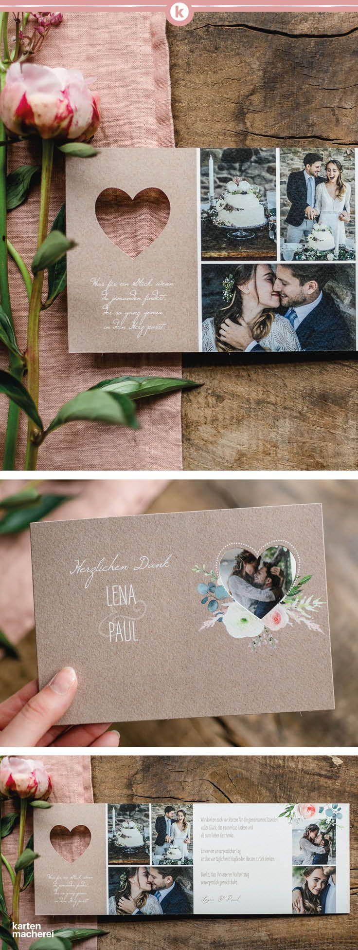 """Dankeskarte Hochzeit """"Romanze (gestanzt)"""""""