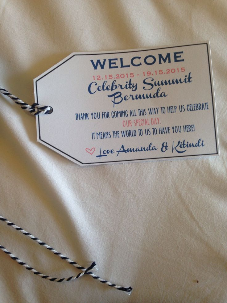 Destination Wedding Welcome Tags