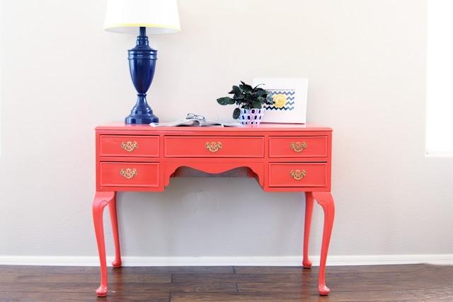 painted furnitureDesks Makeovers, Painted Furniture, Front Doors Colors, Painting Furniture, Color Bedroom, Coral Desks, Royal Blue, Benjamin Moore, Painted Side Tables