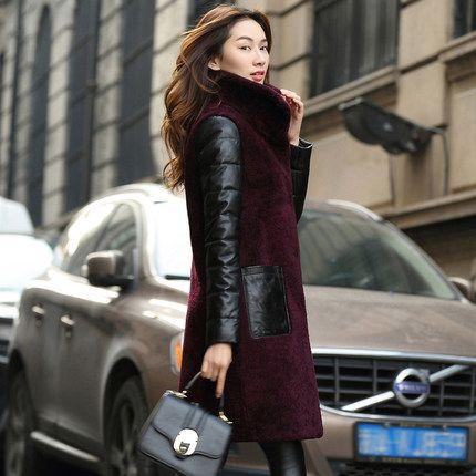 新款2016冬装皮草外套 羊羔毛皮毛一体 女大衣长款女士真皮羽绒服