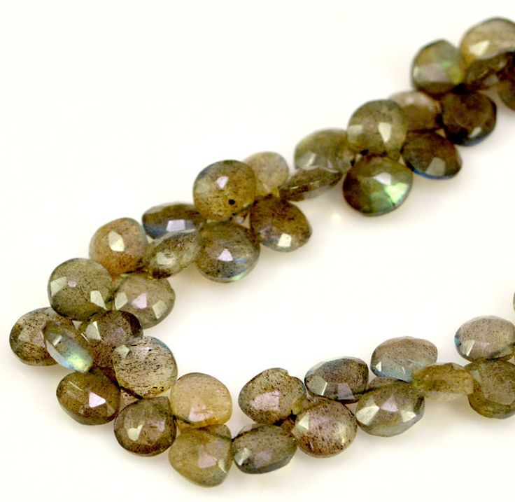 51 beads Natural Labradorite Briolette Pear Shape Gemstone Beads String Strands #KrishnaGemsNJewels #StrandString