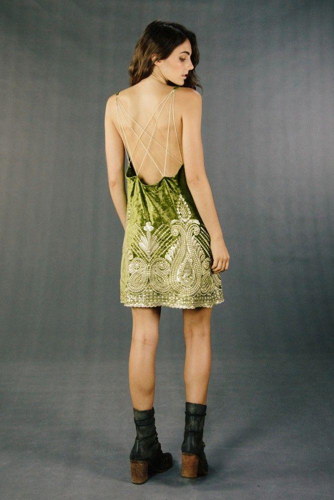 MALU DRESS – moss velvet