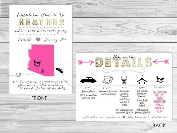 Bachelorette Party Invitation Bachelorette by LCODesignandPaperie, $19.00 like the layout