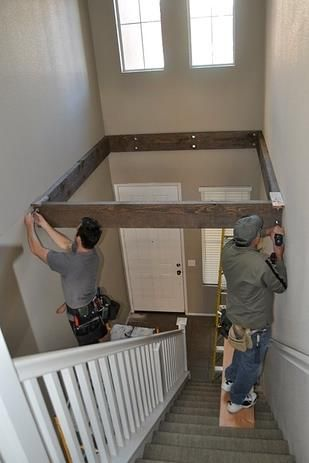 Turn dead space above a staircase into a bigger/walk-in closet!!! or storage space! Perfect for small homes like mine!