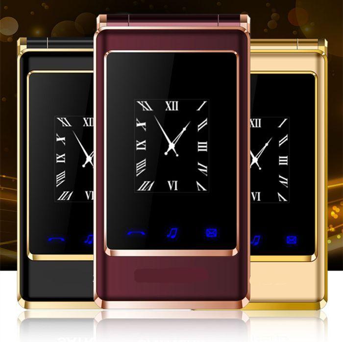 "A15 dual screen 3.0"" original flip russian keyboard cheap senior touch mobile phone Phone Elder clamshell Cell phones H-mobile"