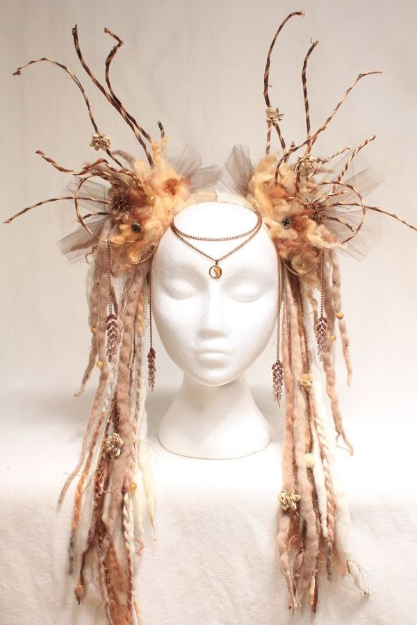 amazing dreadlock and felt woodland fairy, tribal elf, fantasy cosplay pagan queen headdress couture fantasy fashion or costume for grimm and fairy princesses by rochelle