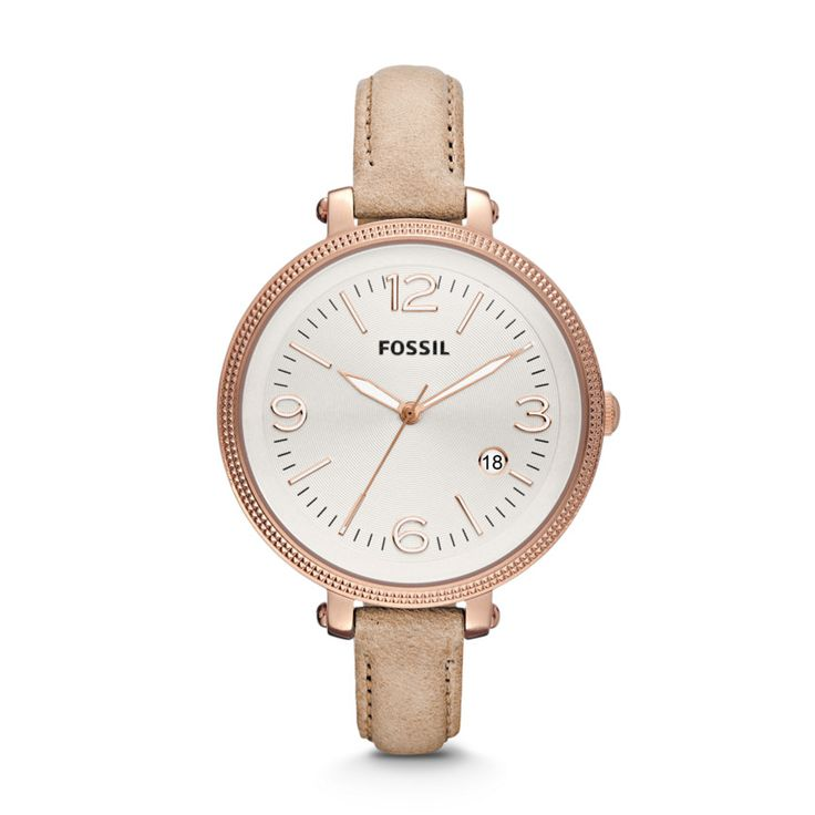 ES3133 - Fossil Heather Three Hand Leather Watch - Sand // I have this in brown leather instead, and I LOVE it! <3