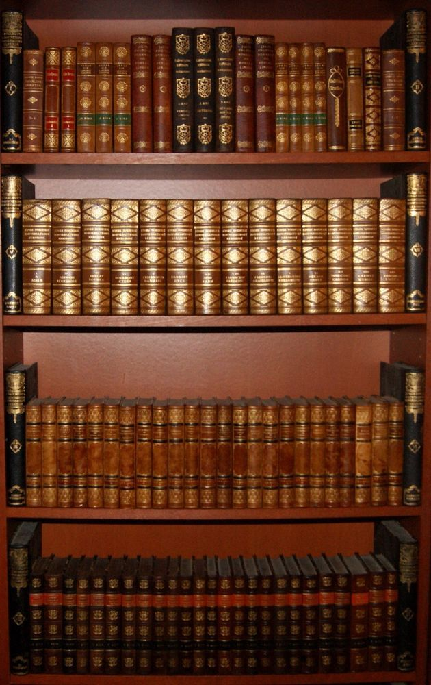 101 FINE ANTIQUE LEATHER BOUND BOOKS - FINE GOLD DECOR - INTERIOR DESIGN -