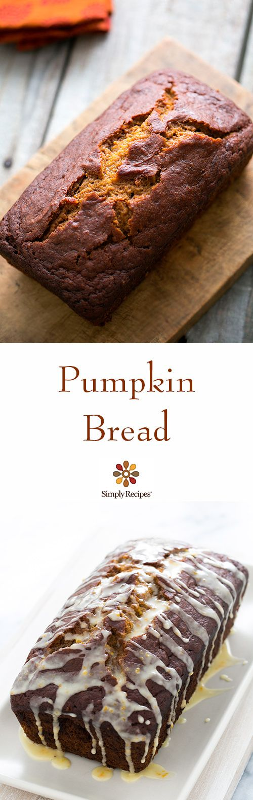 A favorite during Halloween season and Thanksgiving—Pumpkin Bread, with pumpkin spice, ginger, and optional citrus glaze. On SimplyRecipes.com #dessert #snack