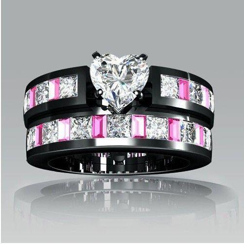 vancaro black wedding ring set - Pink And Black Wedding Ring Set