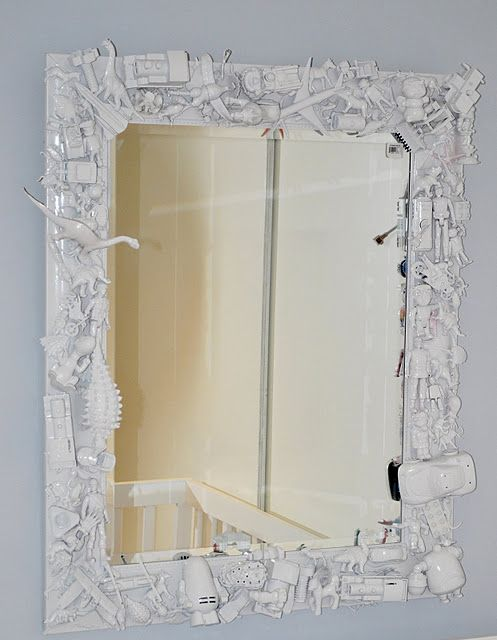 Toy bedecked mirror for the boys - or with different stuff for the girls - or me - to go with the lamp!