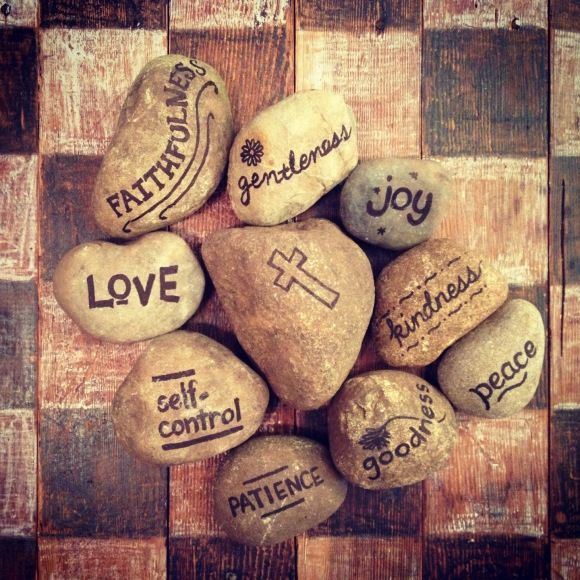 Fruit of the Spirit stones: have on the kitchen table or in a pretty bowl and give to the child/person exhibitting that characteristic