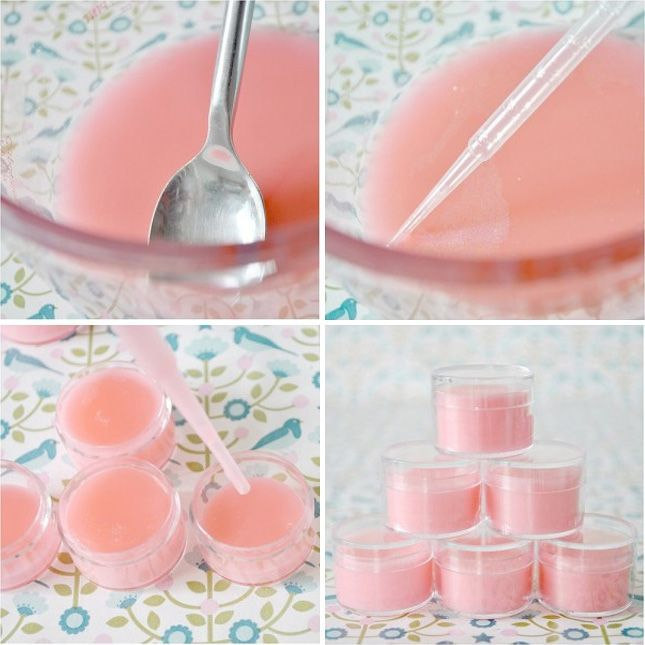 13 Deliciously Simple DIY Lip Balms. Pink, Sparkly and Strawberry. Love it!  We could make this for Valentines Day!