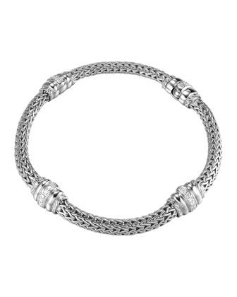 Bedeg Diamond-Station Silver Bracelet, Size Medium by John Hardy at Neiman Marcus Last Call.