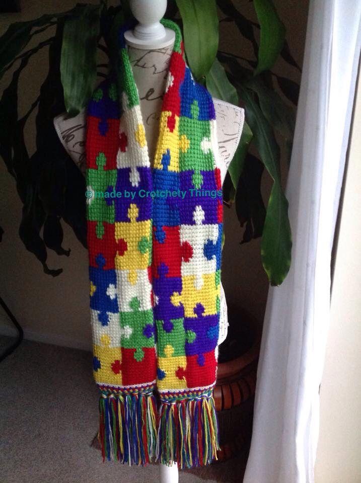 Handmade Autism Awareness Jigsaw Scarf by Crotchety Things (www.facebook.com/kuteCcrafts)