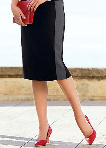 Contrast Panel Pencil Skirt. Fully lined in stretch satin.