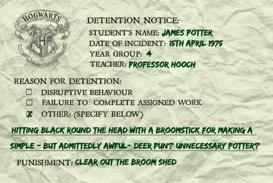 hogwarts detention slips...may be those which snape told harry to sort
